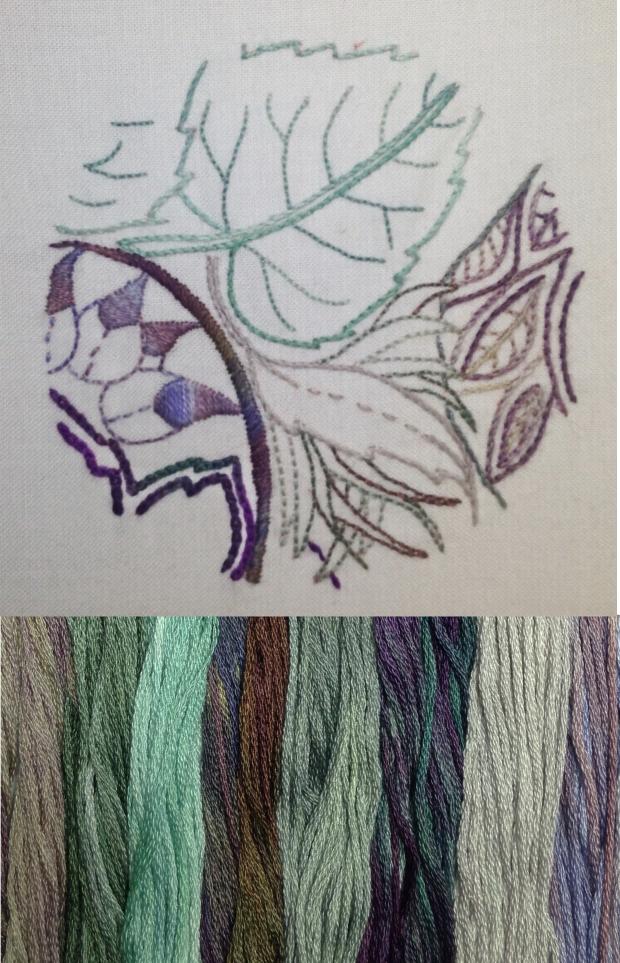 Aubergine thread and sample