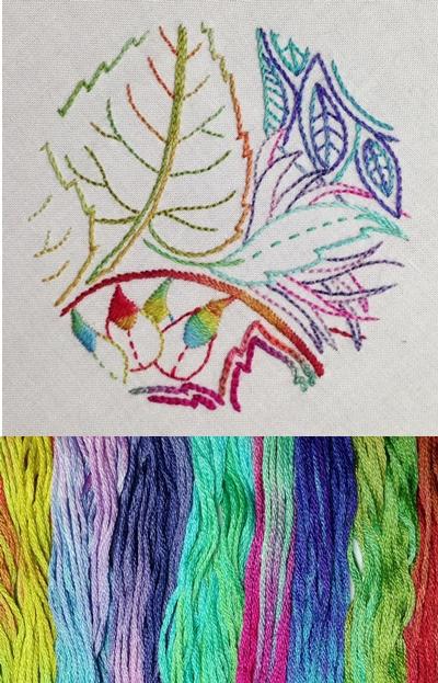 Rainbow bright thread and sample